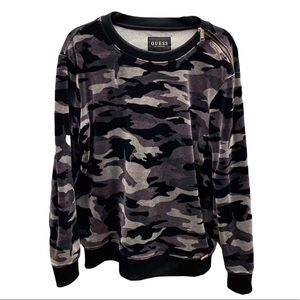 Guess Los Angeles Camo Pull Over Sweater Men Small
